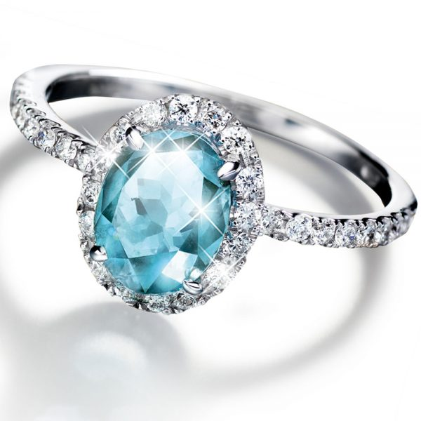 Sädehtivä Aquamarine-sormus